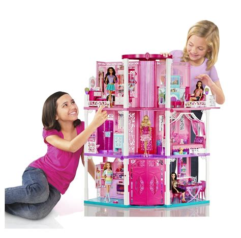 barbie dolls dream house mattel barbie doll 3 story deluxe folding townhouse dream house furnished new ebay