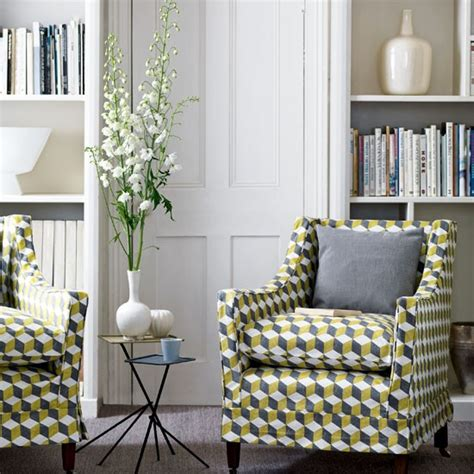 Living Room With Geometric Print Living Rooms Printed Chairs Living Room