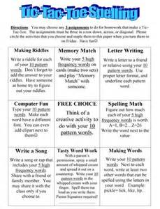 tic tac toe homework template word study program homework scholastic