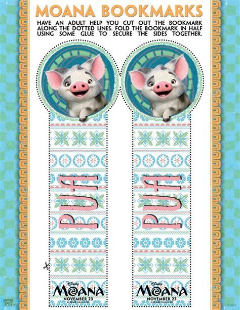 printable bookmarks disney disney moana pua bookmark craft printable coloring pages