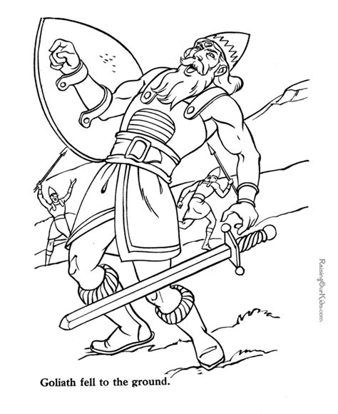 christian coloring pages david and goliath goliath and david bible coloring page to print 040