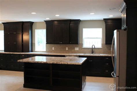 Floor And Decor Granite Countertops by Black Kitchen Cabinets Traditional Kitchen Houston