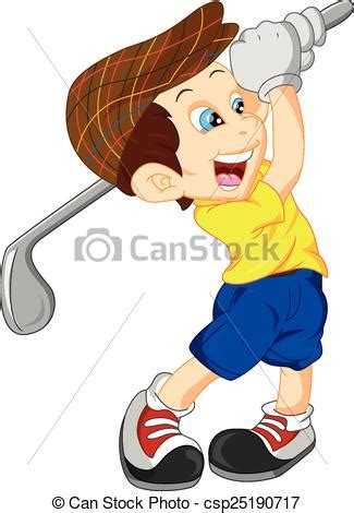 dibujos de niños jugando golf vector clip art de jugador ni 241 o golf caricatura lindo