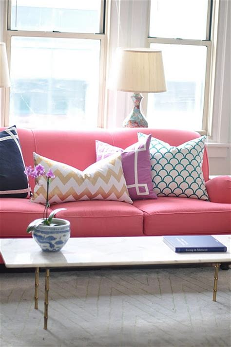 pink sofa cushions coral linen sofa have a seat pinterest pink couch