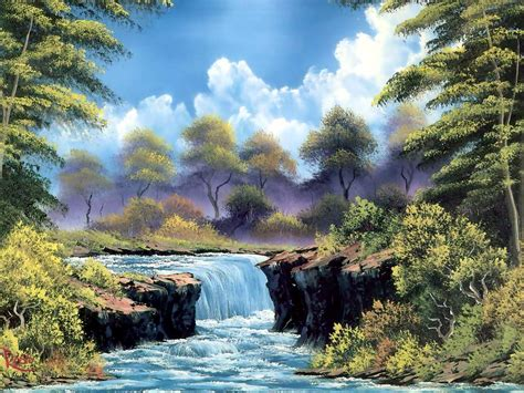 bob ross painting a waterfall bob ross painting fan 36644501 fanpop