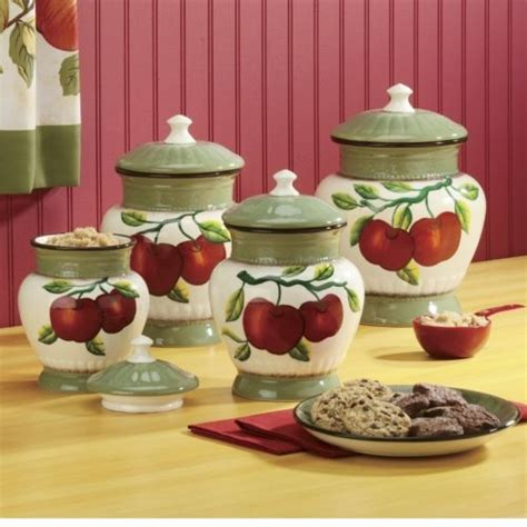 apple canisters for the kitchen canisters apple on branch 4 set the apple orchard