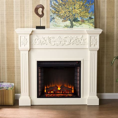 electric fireplace ivory 44 5 quot calvert carved ivory electric fireplace fe9279