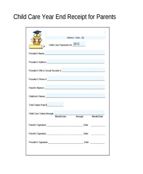 child care receipt template word daycare receipts child care receipt day care receipt