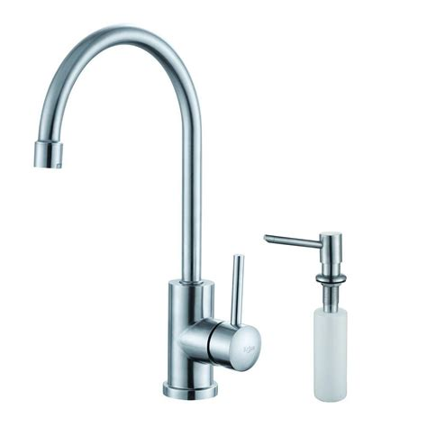 restaurant kitchen faucets kraus single handle stainless steel kitchen bar faucet with soap dispenser in stainless steel