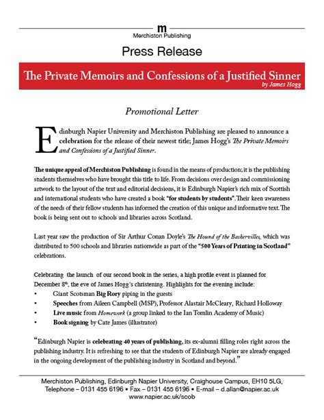 News Release Letter Sle Press Release Confessions Book Launch