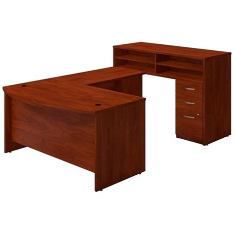 Bush U Shaped Desk Bush Sre148 U Shaped Desk With Standing Height Credenza