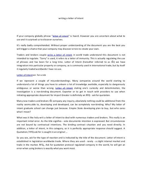 Letter Of Intent Template Mba Writing A Letter Of Intent