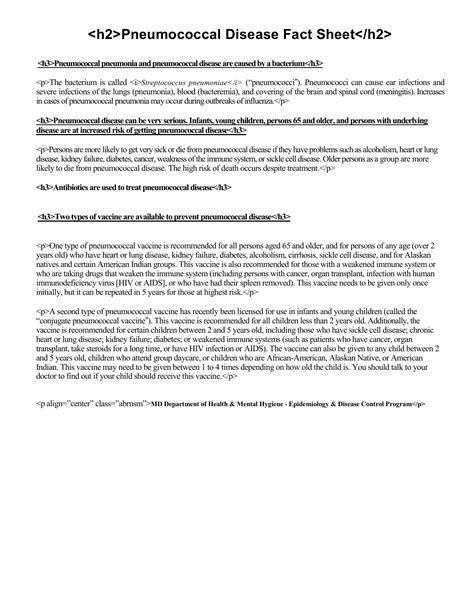 Pneumococcal Disease Fact Sheet