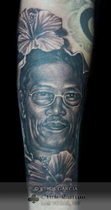 chris garcia tattoo chrisgarcia black and grey portrait