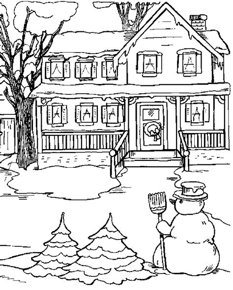 snowy house coloring pages peisaj de iarna