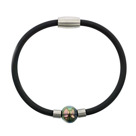 black rubber pearl bracelet hinerava jewelry
