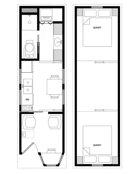 floor plan tiny house sle floor plans for the 8x28 coastal cottage tiny