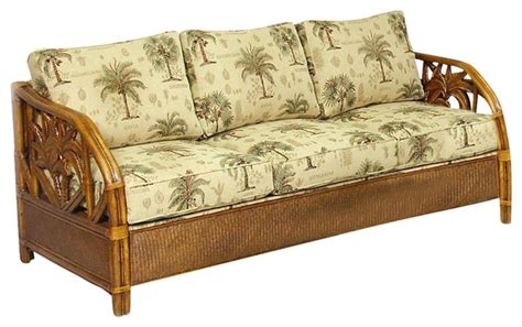 Rattan Wicker Sofa Bed Tc Antique Finish With Canvas