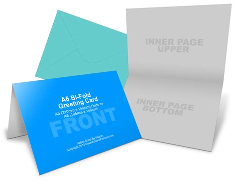 Free Bi Fold Card Template by A6 Greeting Card Mockup Cover Actions Premium Mockup