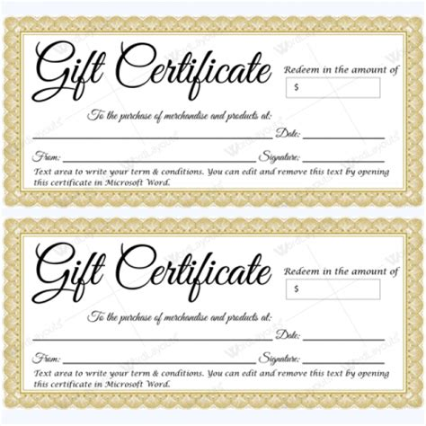 Gift Certificate Templates 500 Gift Certificate Designs Printable Gift Certificate Template Word