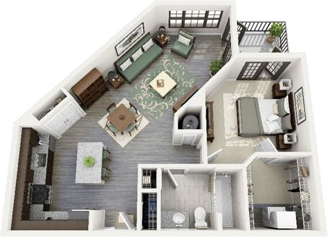 one bedroom apartment in 1 bedroom apartment house plans