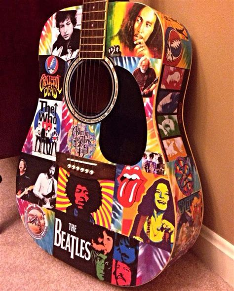 How To Decoupage A Guitar - decoupage classic rock tie dye playable acoustic guitar
