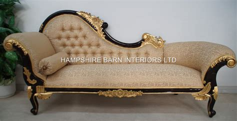 ornate chaise lounge chaise longue large ornate mahogany w gold cream lounge