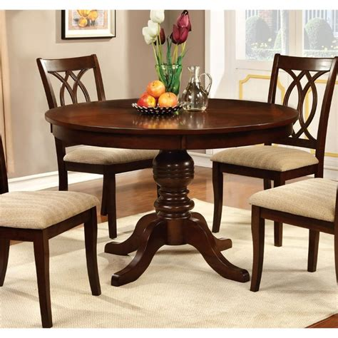 Cherry Kitchen Tables Furniture Of America Amersty Pedestal Dining Table In Cherry Idf 3778rt
