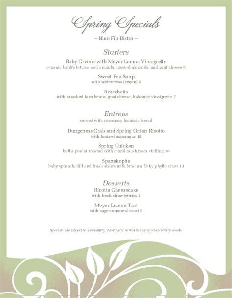 menu specials template specials restaurant menu letter daily special menus