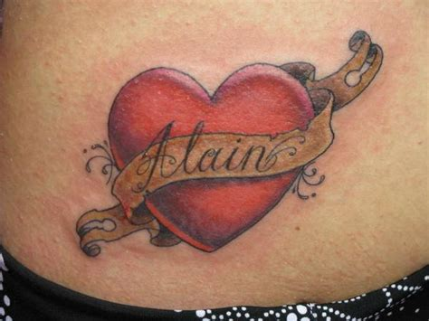 heart tattoo designs with banner banner and picture