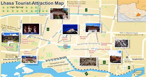 attractions in map lhasa city map lhasa tibet city map lhasa tourist map