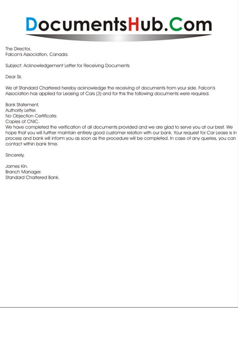 Acknowledgement Letter After Receiving Documents acknowledgement letter for receiving documents documentshub