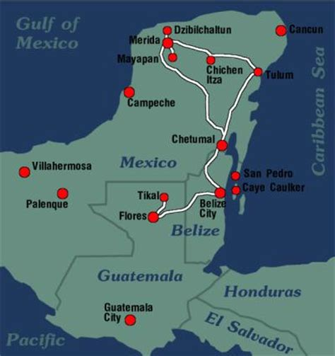 map of mexico and belize backbacking tour mexico belize guatemala