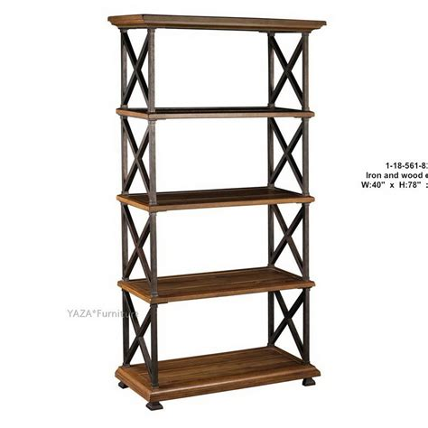 american country furniture wrought iron wood shelf