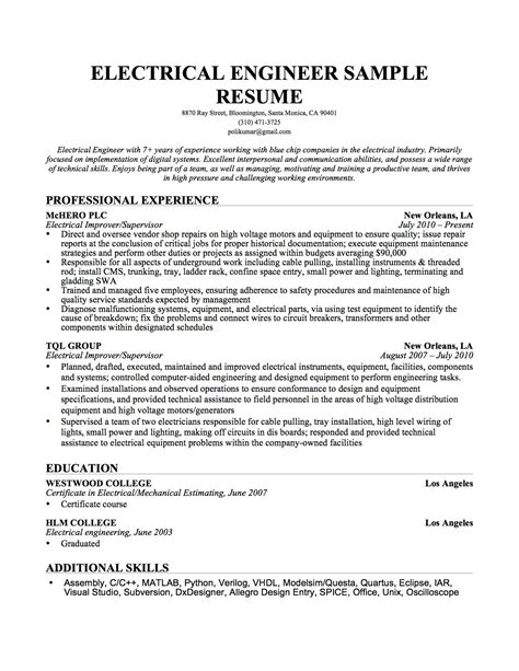 technical resume format for electrical experience engineering cover letter templates resume genius