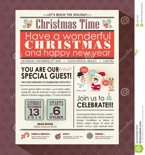 Christmas Party Poster Invite Background In Newspaper Style Stock Vector Illustration Of Newspaper Style Menu Template