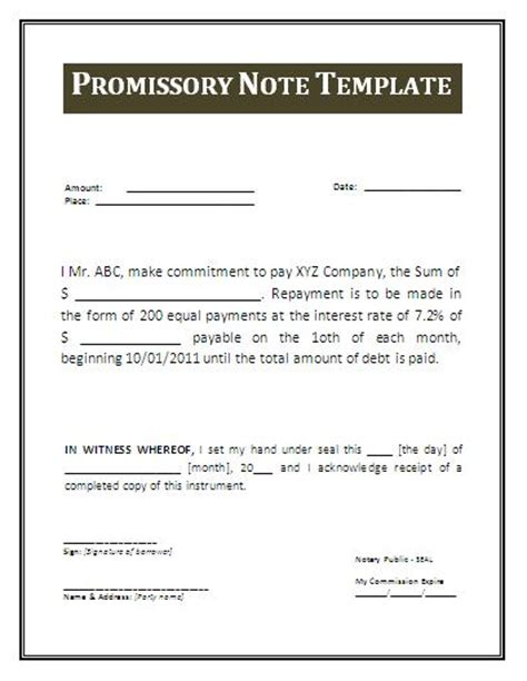 promissory note free template word free promissory note template mobawallpaper