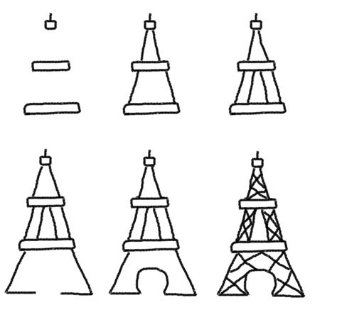 how to draw the eiffel tower step by step easy book covers