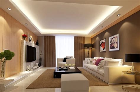 light brown living room interior design rendering