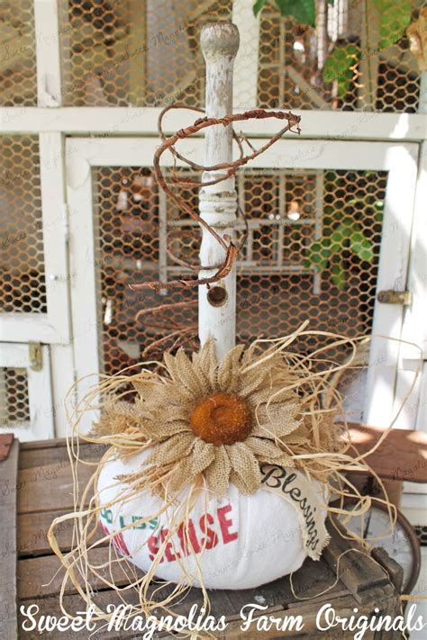 country vintage home decor feed sack pumpkin fall autumn thanksgiving decoration