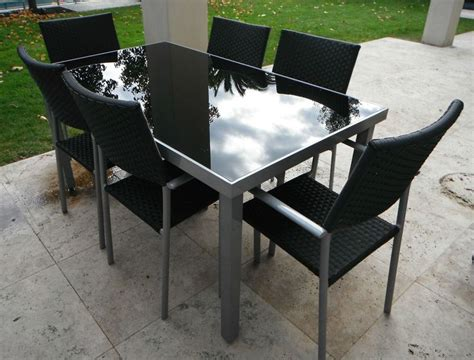 Glass Table Top For Patio Furniture Outdoor Furniture Table 6 Chairs Aluminium Frame With Black Glass Top In Vic Ebay Outdoor