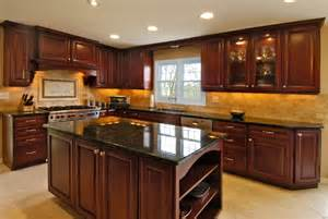 Kitchen Floor Ideas With Dark Cabinets Rich Cherry Kitchen Traditional Kitchen Chicago By