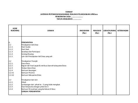 format laporan dana desa materi pengelolaan keuangan desa