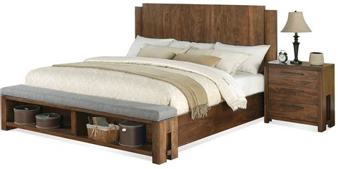 king bed bench terra vista cal king low profile panel bed w bench by