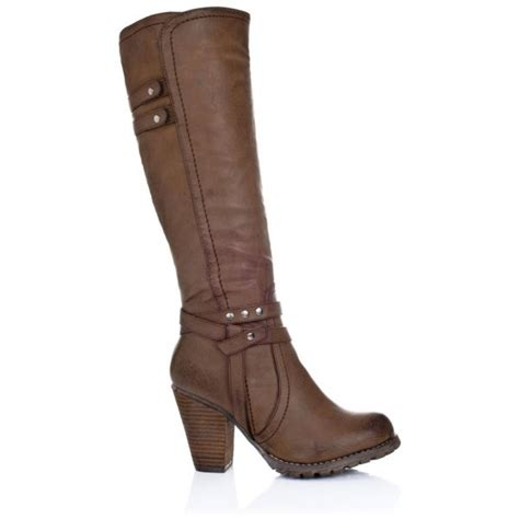 high heel brown leather boots buy august block heel knee high biker boots brown leather