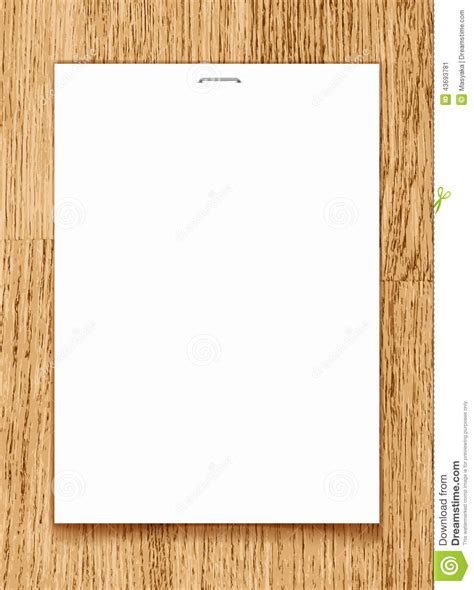 design background a4 vector blank paper a4 sheet on wooden background stock