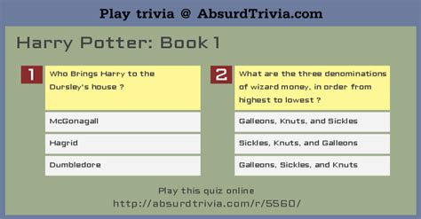quiz questions books trivia quiz harry potter book 1