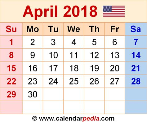 Calendar April 2018 April 2018 Calendars For Word Excel Pdf