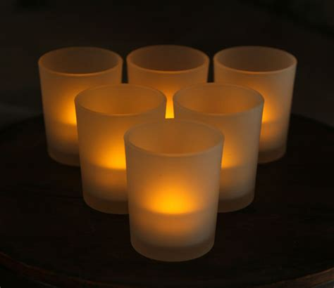 lights candles 3 inch white frosted battery operated tea light votive