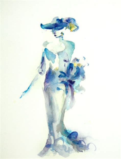 watercolor woman tutorial modern abstract woman watercolor painting original